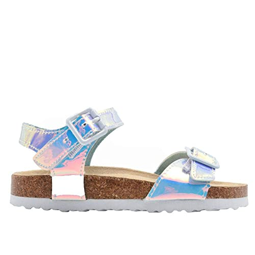 62a84cbf7 dELiAs Girls Footbed Sandal Metallic Holographic Slip On Slide Shoe with  Buckle Embellishment