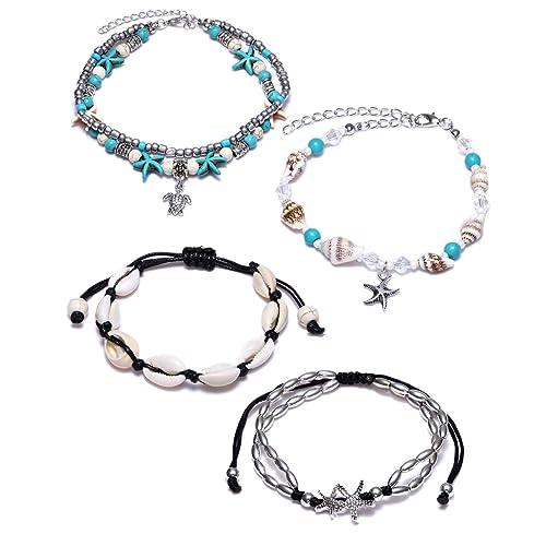 Buy VALIJINA 4Pcs Shell Anklet Bracelets for Women Girls