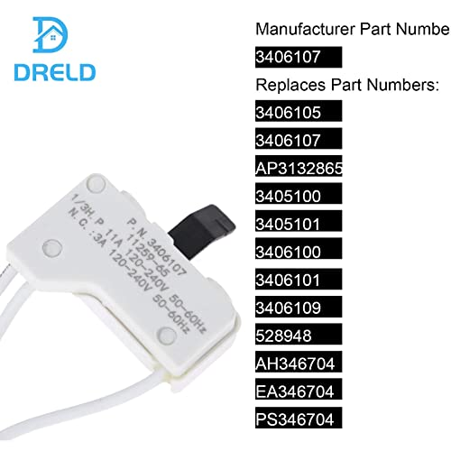 3406101 3406100 Ultra Durable 3406107 Dryer Door Switch Replacement part for Whirlpool /& Kenmore Dryer Replaces 3405100 3406107 3406109 3405101