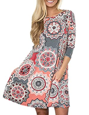 c6153bdb82 Women s 3 4 Sleeve Damask Floral Printed Tunic Dress Bohemian Swing Casual  Midi Dress with