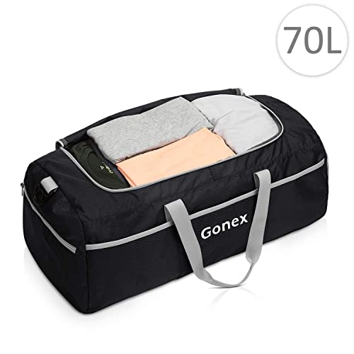 Gonex 60L Travel Duffel Bag,Large Sports Duffle Bag Gym Bag Carry on Weekender Bag Luggage Duffel for Hiking Camping Travelling Cycling with Shoe Compartment Blue Coral