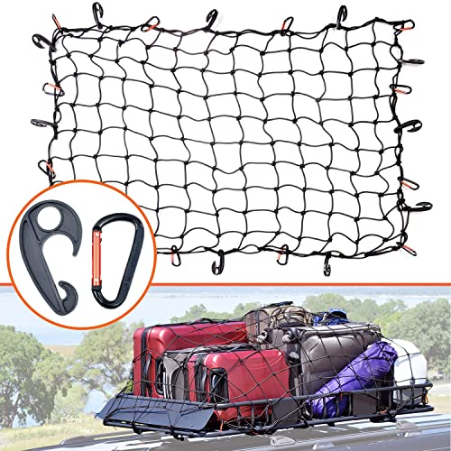 """Small 4/""""x4/"""" Mesh Holds Small and Large Loads Tighter 12 Tangle-free D Clip Carabiners 4x6 Super Duty Bungee Cargo Net for Truck Bed Stretches to 8x12"""