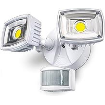 HomeZone Outdoor Security Motion Sensor Flood Lights 5000K LED Frosted Lens Twin