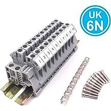 12-22 AWG 20 Amp 600 Volt Dinkle Assembly Kit DK2.5N-GN 10 Gang Green with Jumpers DIN Rail Terminal Blocks