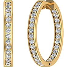 1.62 ct tw Hoop Earrings 26 mm Diamond Line Setting Secure Click-in Lock 18K Gold G,VS